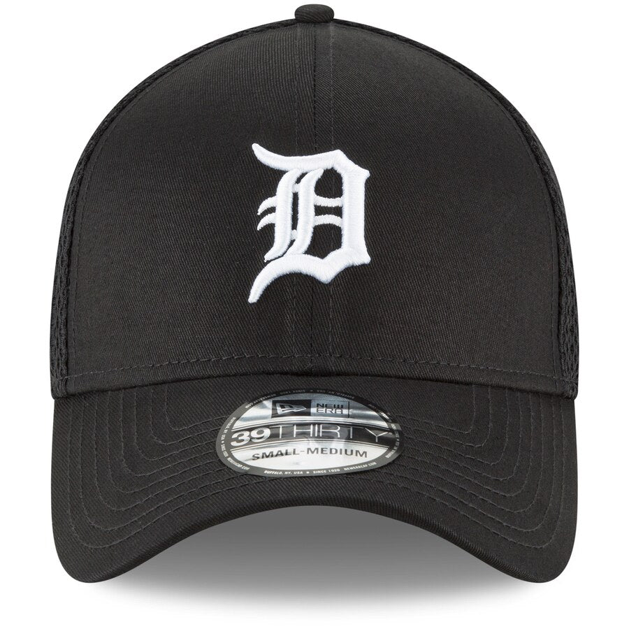New Era Detroit Tigers 39THIRTY Unstructured Flex Hat / White + Black - Pure Detroit