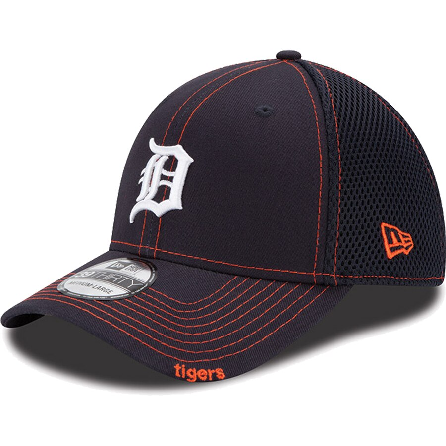 New Era Detroit Tigers Neo 39THIRTY Stretch Fit Hat / Orange + Navy - Pure Detroit