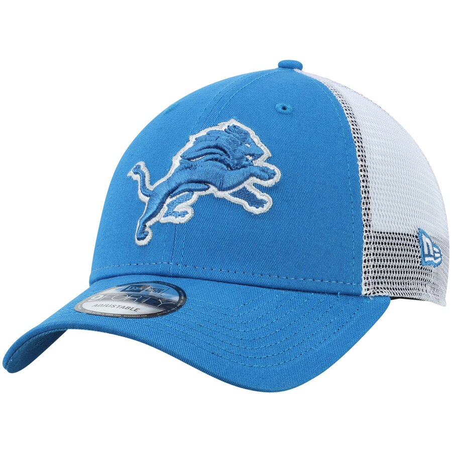 New Era Detroit Lions Trucker 9Forty Adjustable Hat / White + Blue