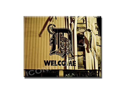 Welcome to Tiger Stadium Welcome 11 x 14 Woodblock Print - Pure Detroit