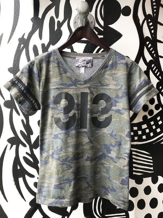313 V-Neck Football Tee / White + Vintage Camo / Women's