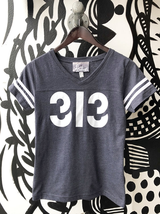 313 V-Neck Football Tee / White + Vintage Navy / Women's - Pure Detroit