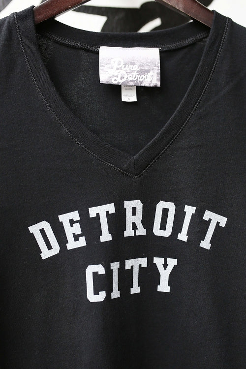 Detroit City V-Neck Tee / White + Black / Women's