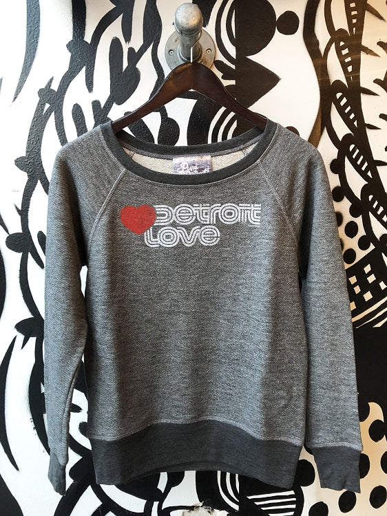 Detroit Love Terry Raglan Sweatshirt / Gray / Women's - Pure Detroit