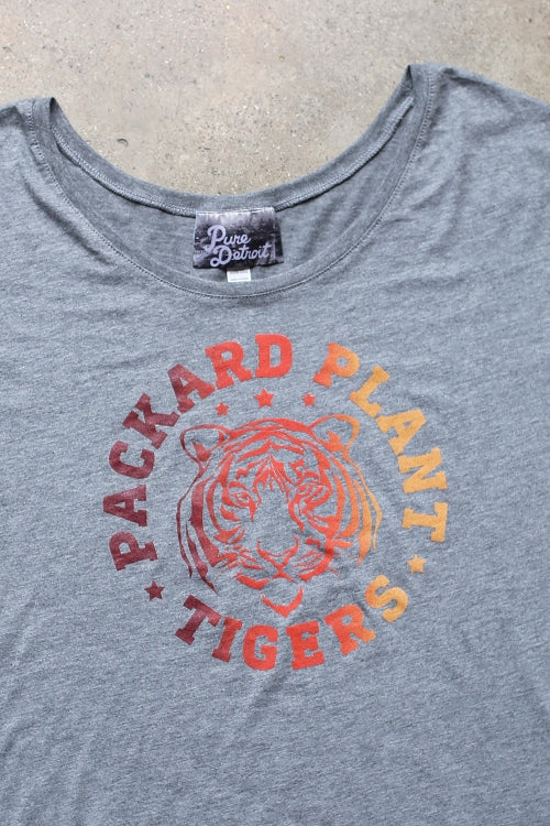 Packard Plant Tigers Slouchy Tee / Gray / Women's - Pure Detroit