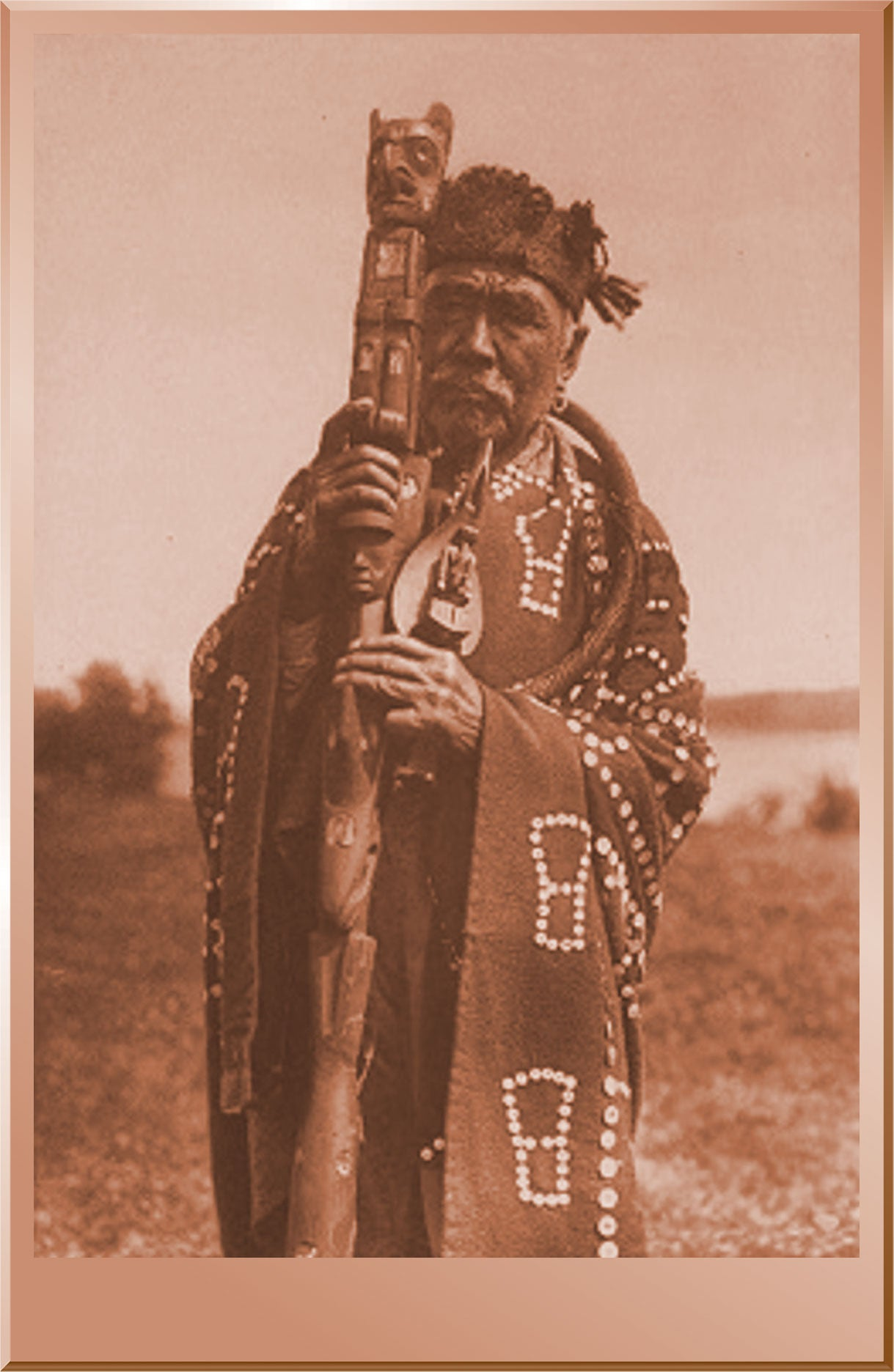 Hamasaka in Tluwulahu Costume with Speaker's Staff - Qagyuhl