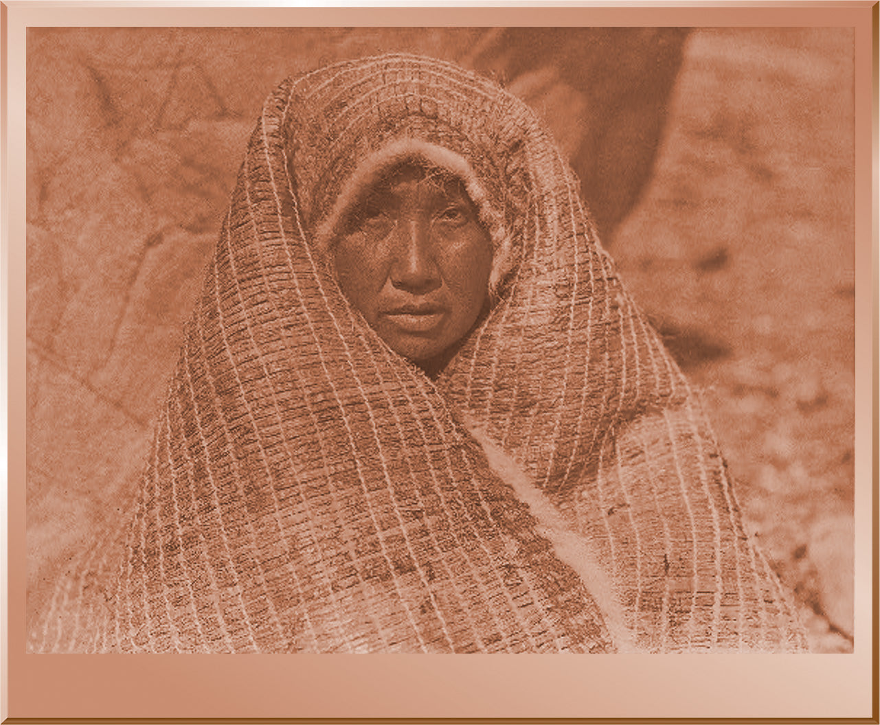 Nootka Woman Wearing Cedar Bark Blanket