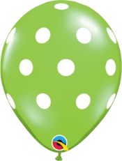 lime green polka dot balloon