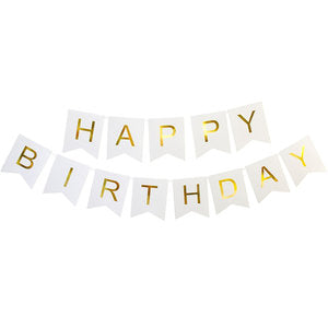 White and Gold foil happy birthday banner