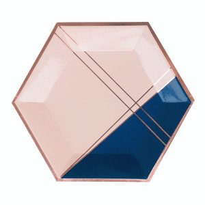 Erika Pale Pink and Navy Colorblock Large Plates