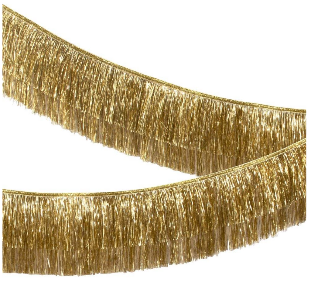 Gold Iridescent Tinsel Fringe Garland