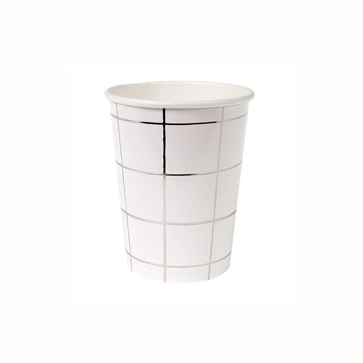 Metallic Silver Grid Paper Cups