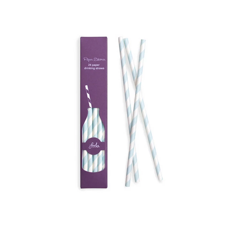 Powder Blue Paper Straws
