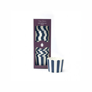 Navy Blue Stripe Baking Cups