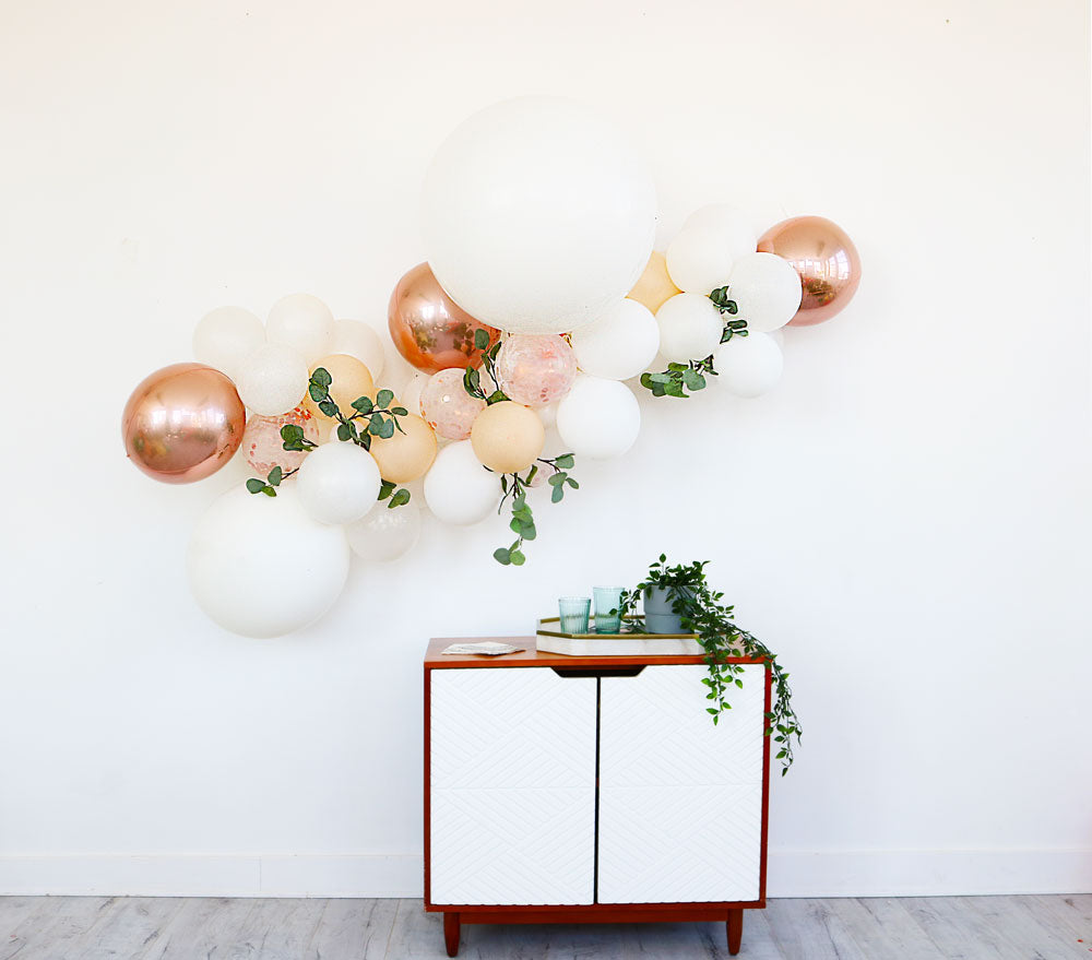 Rose Gold Balloon Garland with greenery