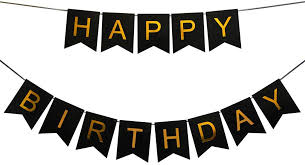 black and gold foil happy birthday banner