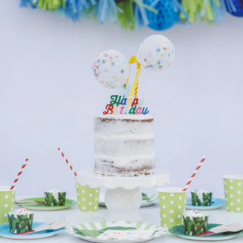 Multi Colored Happy Birthday Candle