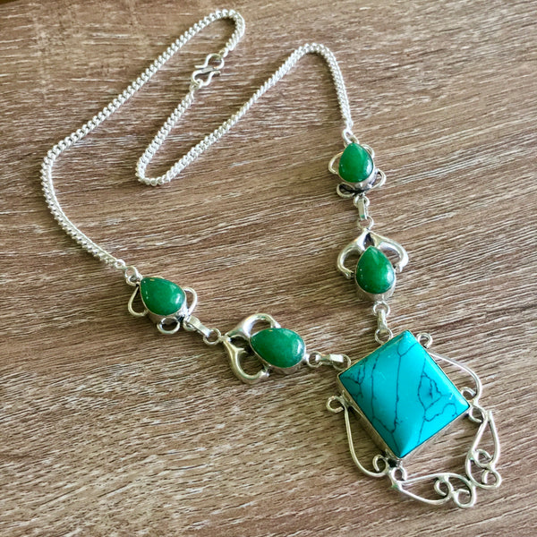 Turquoise and Green Onyx Silver Necklace