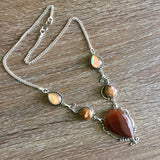 Carnelian and pearl silver necklace