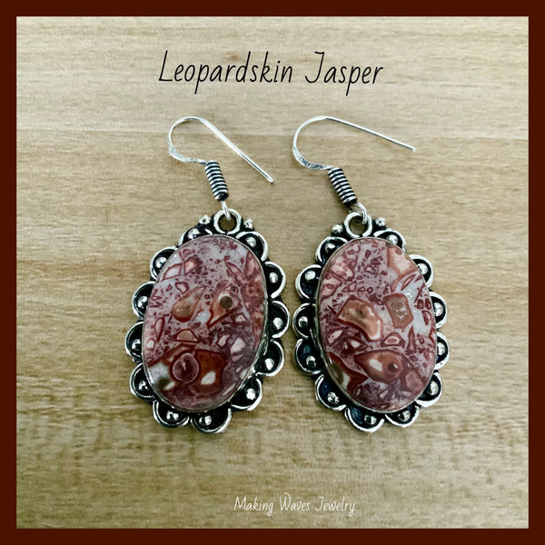 Leopardskin Jasper Silver Earrings
