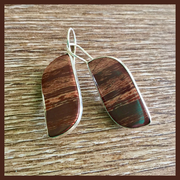 Red Jasper Silver Earrings