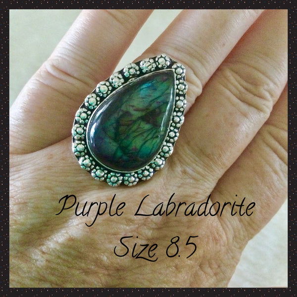 Purple Labradorite Ring 8.5