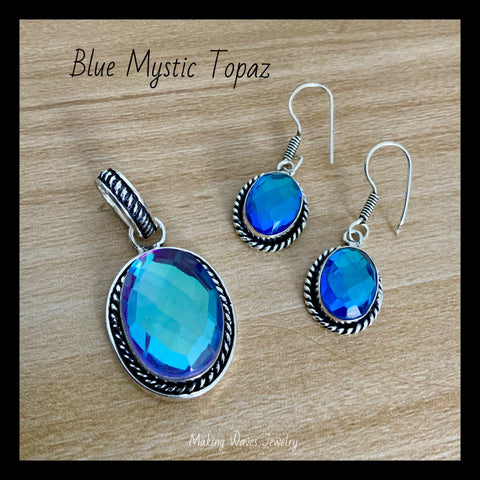 Blue Mystic topaz Silver Pendant and Earrings set