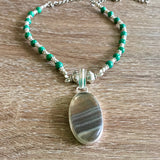 Striped Agate and Malachite Silver Necklace