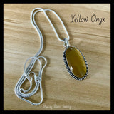 Yellow Onyx Silver Necklace