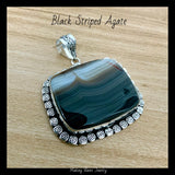 Black Striped Agate Silver Pendant
