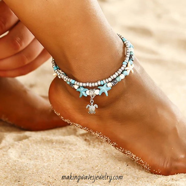 Sea Turtle & Starfish Turquoise Anklet