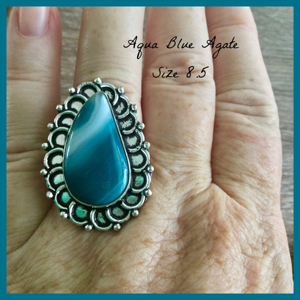 Aqua Blue Agate Ring 8.5