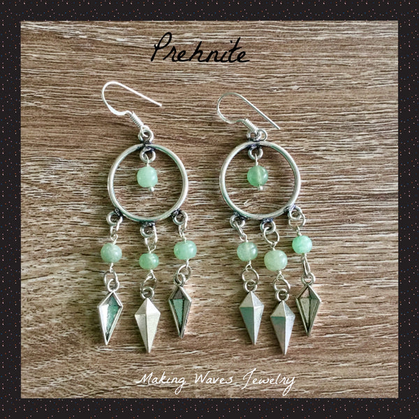 Prehnite Silver Earrings