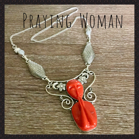 Red Praying Woman Silver Necklace