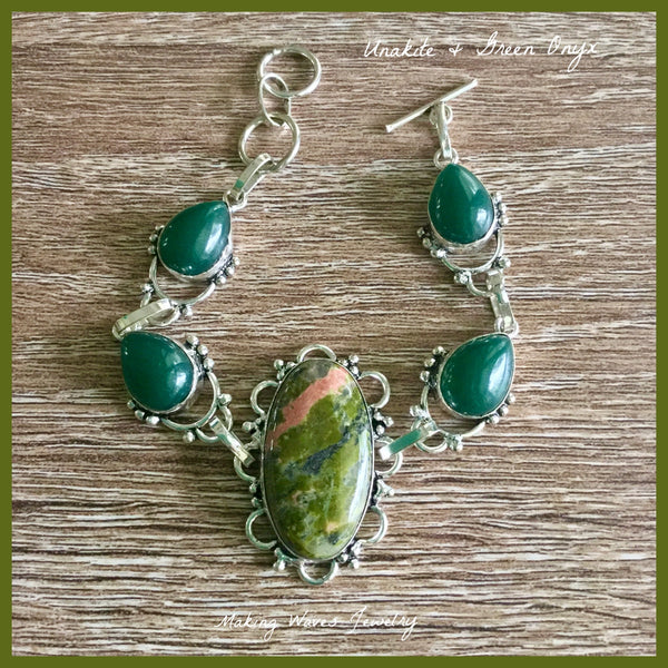 Unakite and Green Onyx Silver Bracelet