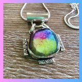 Rainbow Solar Quartz Silver Necklace