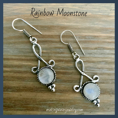 NEW Rainbow Moonstone Silver Earrings