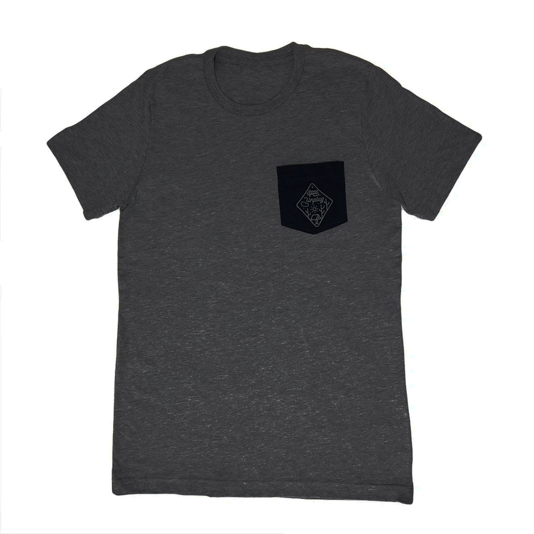 Unplug Pocket Tee (Charcoal with Black Pocket)