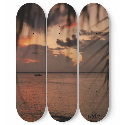 Skateboard Wall Art / Skateboard Art Mural - Sunset