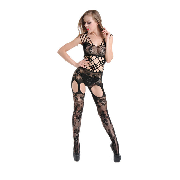 Bodystocking Sexy Crotchless Garter Style Fishnet Black