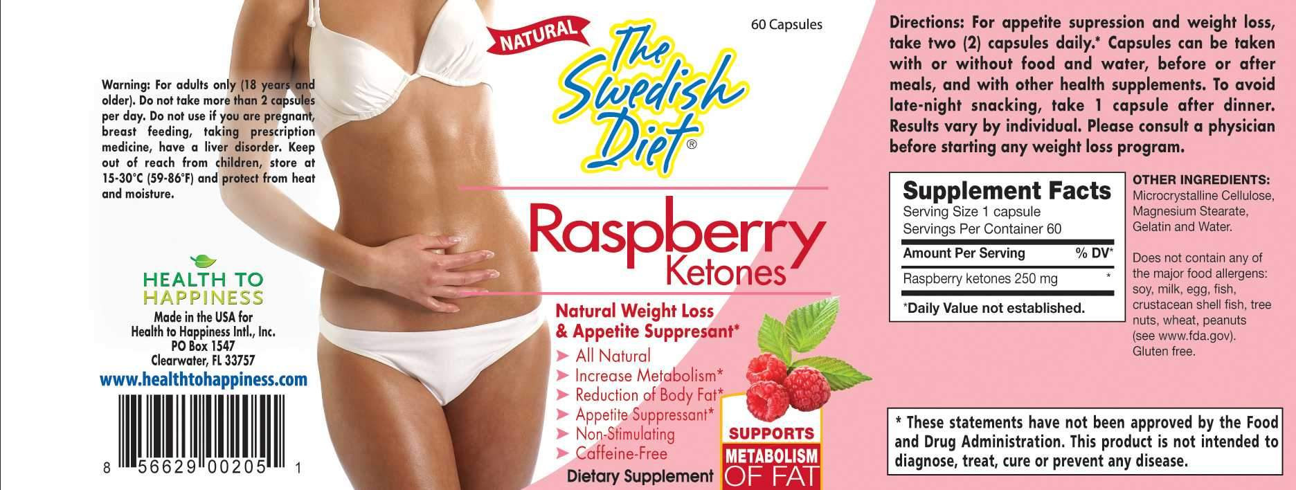 Raspberry Ketones Natural Weight Loss And Appetite Suppressant 60 Ca