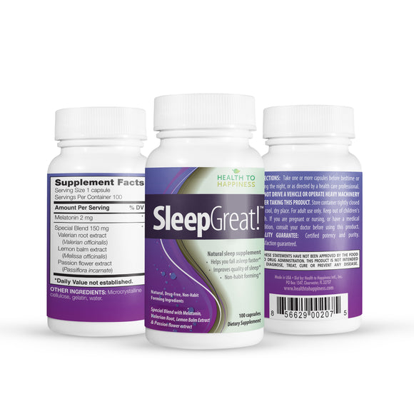 Sleep Great is Non-Habit Forming. Special Blend with Melatonin, Valerian & more