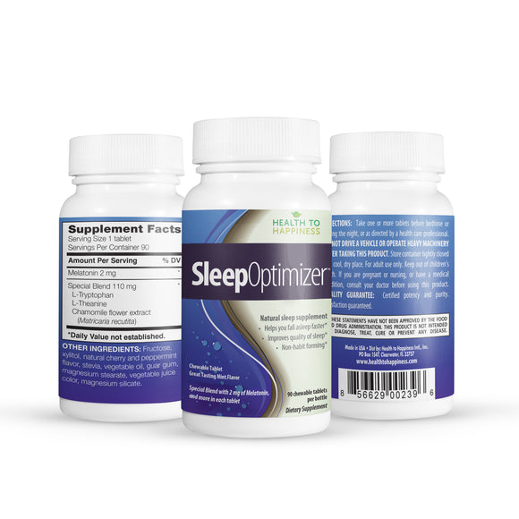 Sleep Optimizer is a Great Tasting Chewable Tablet, Mint Flavor with Melatonin & More