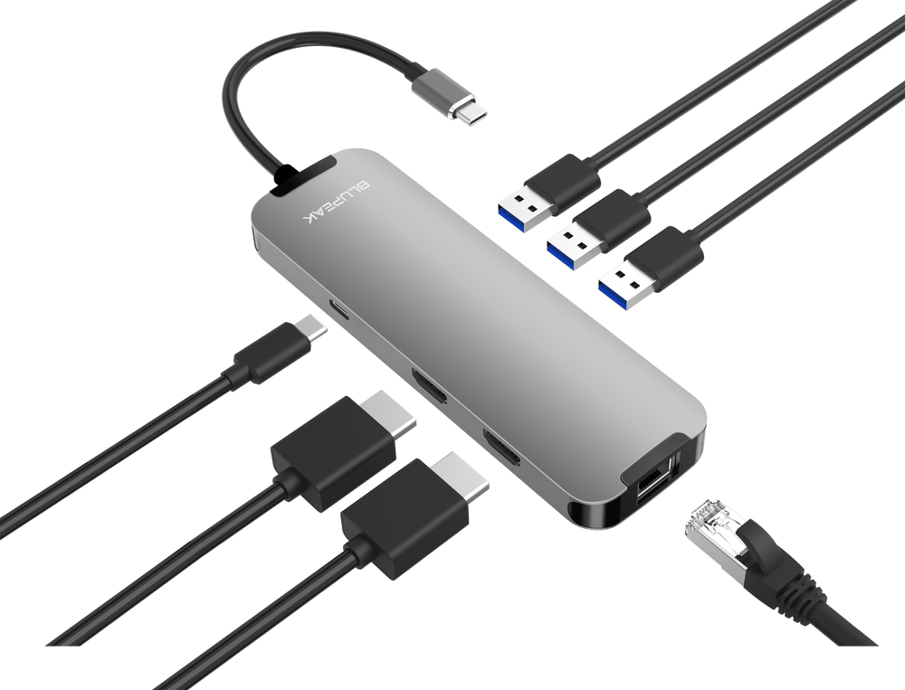 Blupeak USB-C Multi-Port Adapter 2xHDMI4K/2xUSB3.0/RJ45/PD | BluPeak | Power Bank, Adapters, Docks and Cables | Accessories