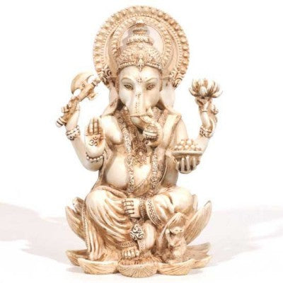 Antiqued Ivory-Look Ganesh Lord of Success Statue