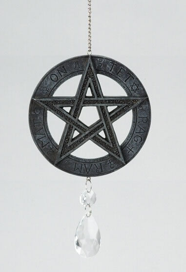 Pentagram with Crystal Prism Wall Hanging