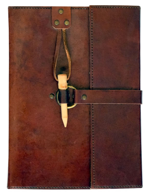 Extra Large Embossed Leather Journal with Wood Peg Lock Closure