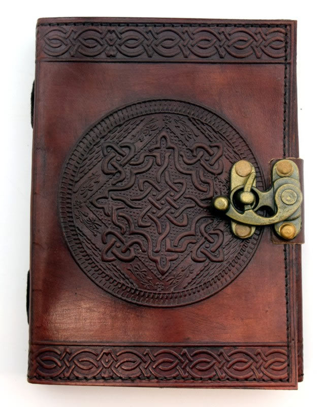 Large Embossed Leather Journal with Metal Lock Closure - Various Styles