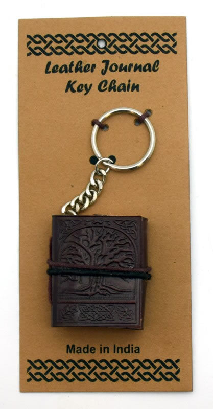 Embossed Leather Mini Journal Key Chains - Various Styles
