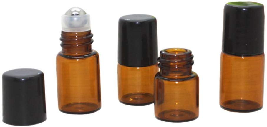 Short Amber Glass Roller Top Bottle